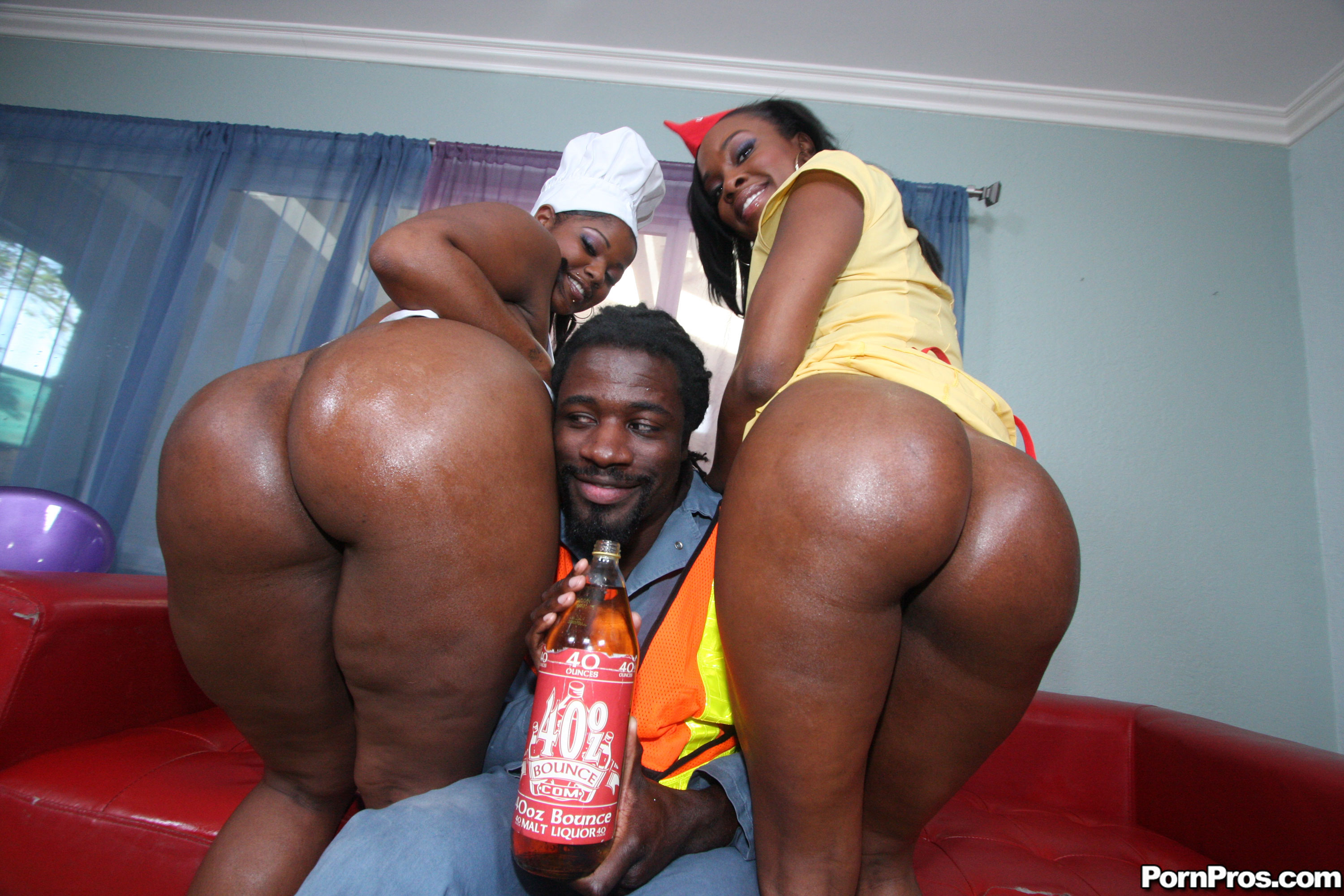 Ghetto Hoes Xxx in two phat black whores getting a massive schlong up their bubble butts!